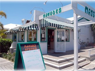 Mangoes Restaurant is located in Marsh Harbour with a variety of foods offerend, a happy hour with specials and a great veiw overlooking the marina.  You can take Ferry over to Mangoes from Hope Town