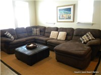 Comfortable furnishings and large, flat screen TV