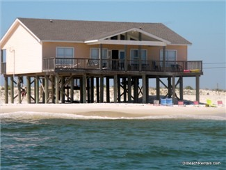 """Sun Spot"" is a direct, Gulf-front vacation rental beach house on the far west end of Dauphin Island.  This is the back of the home, when viewed from the Gulf."
