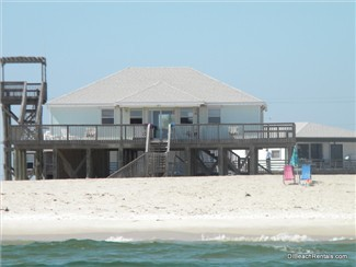 """Sand Bar"" is a great 3 bedroom Gulf-front beach house rental on Dauphin Island's West End beach."