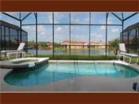 Lovely pool and spa overlooks lake for beautiful views