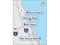 Located on A1A in Daytona Beach...just south of Ormond Beach.  See map!