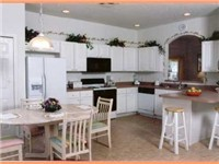 Very open and spacious kitchen area.