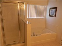 Walk in shower and garden tub