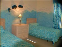 Sea World Themed twin bedroom. Full adult size twin beds
