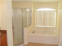 Large bath with walk in shower and garden tub