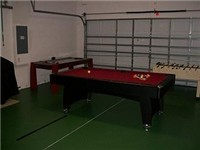 Game Room with pool table, basket baall game and foosball