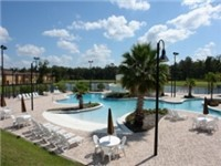 Large and sparkling lazy river pool