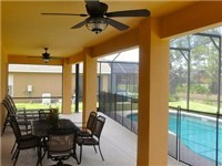 Nice covered lanai for enjoying poolside meals or drinks.