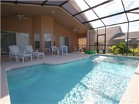 Large sparkling pool and covered lanai