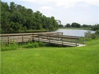 Lake and dock on property