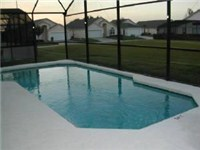 Sparkling pool and above ground heated spa