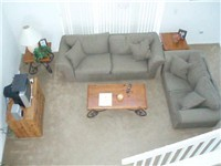 Living area taken from upstairs. Home has cathedral ceiling for a nice spacious feel.