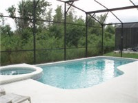 Beautiful Pool area and spa that backs to conservation area.