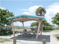 Covered picnic table at Manasota Beach Park.
