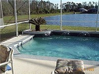 Sparkling pool that backs onto lake