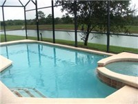 Pool and Spa overlooks lake for privacy