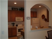 Kitchen overlooks dinning area