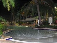 Pool view at night. Open until 11PM