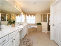 Large Bathroom with shower, garden tub and double vanity