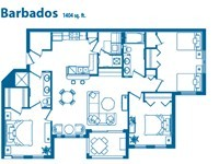 floor plan of one of a three bedroom condo
