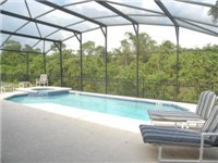 Pool backs to private conservation