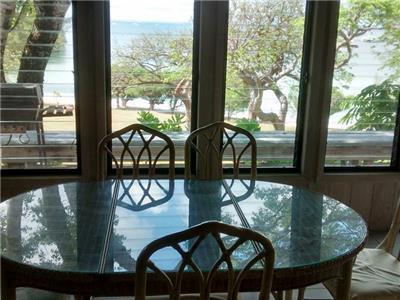 Dining area overlooks the beach