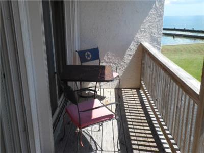 Patio with view of Aransas Bay