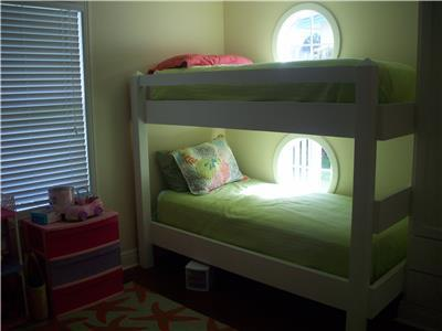 Guest bedroom #1 twin size bunks downstairs
