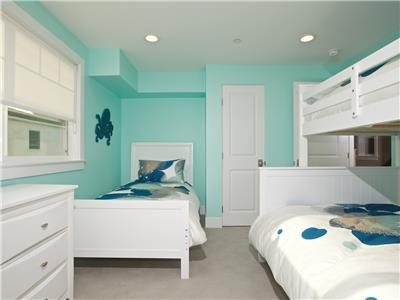 Upper: Bedroom with twin and bunk bed (twin over f