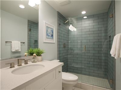 Lower: Bathroom with shower