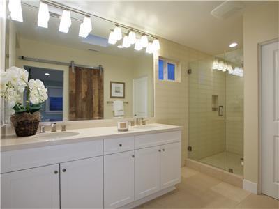 Upper: Master bathroom