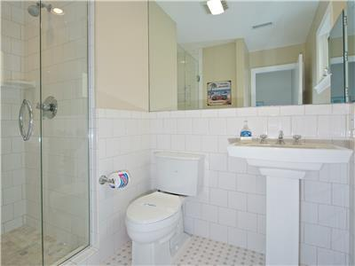 Bathroom on second level with shower