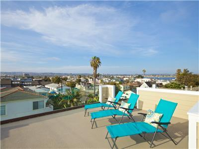 Roof deck with lounge chairs, dining set and BBQ (