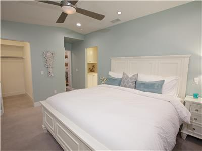 Upper: Master suite with walk-in closet and