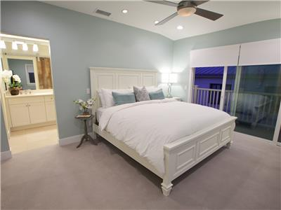 Upper: Master suite with attached bathroom