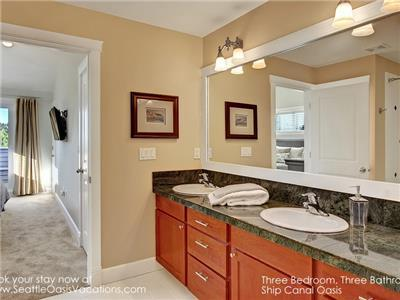 His and Her Sinks in Full Master-Suite Bath