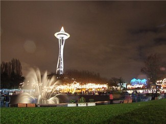 Seattle Space Needle and Fountain at Night