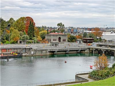 Ballard Locks are five minute away.