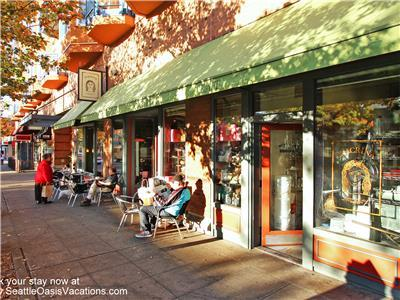 We are surrounded by shops and restaurants.