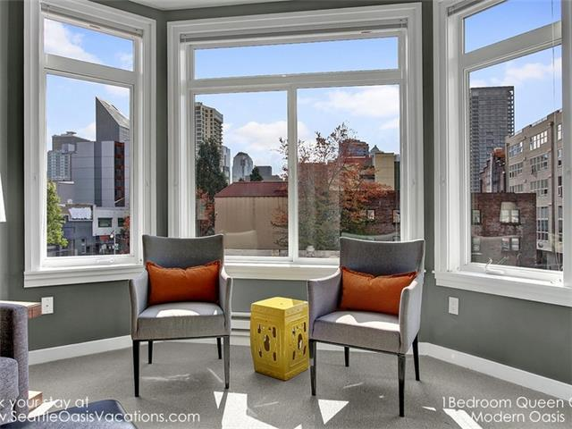 Oversized windows bring in lots of natural light.