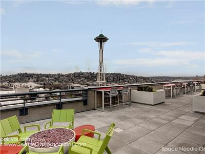 Gas fire pit and Space Needle View!