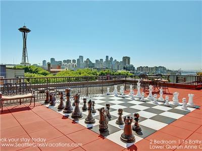 Play chess on rooftop deck blocks from the needle