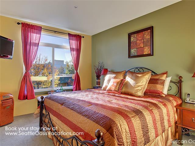 Tuscan Oasis Master Bedroom with King bed.