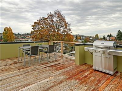 Large rooftop deck with gas grill and dining area.