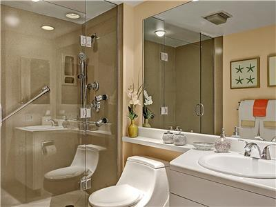 Luxurious bathroom with all the amenities.