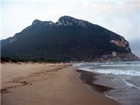 A view of Sabaudia's beautiful beach looking toward Monte Circeo and Torre Paolo.