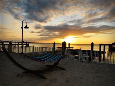 Sunset over hotel marina