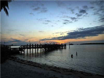 Sunset over fishing pier