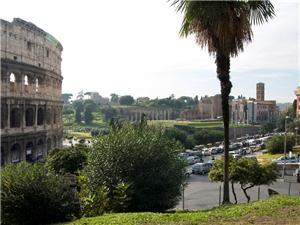 The view of the Colosseum and Forum